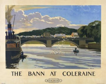 Irish Travel Art Poster, River Bann, Northern Ireland, painted by Norman Wilkinson